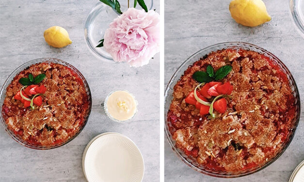 Sommarpaj med jordgubbar, rabarber, citron och mynta